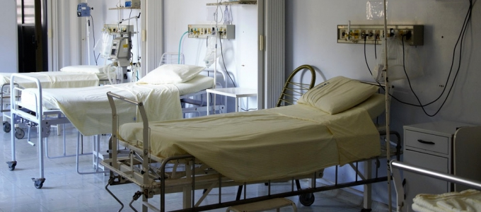 Hospital beds in a room